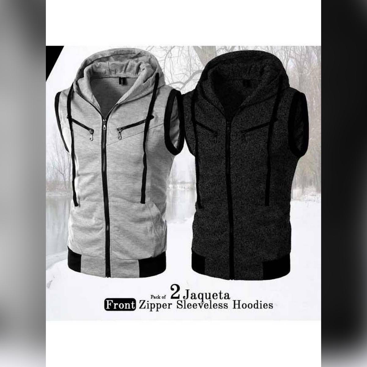 New fashion Pack Of 2  high quality Jaqueta Front Zipper Sleeveless Hoodies Top T-Shirt Sweat_er Waistcoat jackets Gyms Fitness Hoodie both men and women(Winter deal)