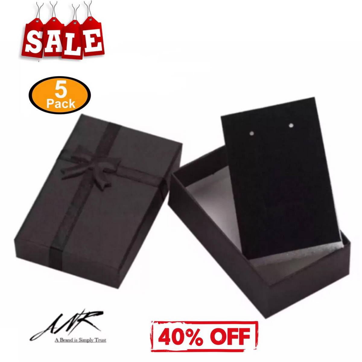 ANR Pack of 5 Jewelry Box 8x5cm Black Necklace Box for Ring Gift Box Paper Jewellery Box Packaging Bracelet Earring Display with Sponge