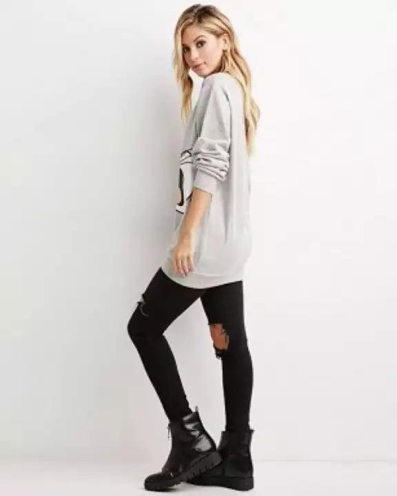 New Style Trending Bugs Bunny Printed Hazar Grey Fleece Cotton Sweatshirt For Women