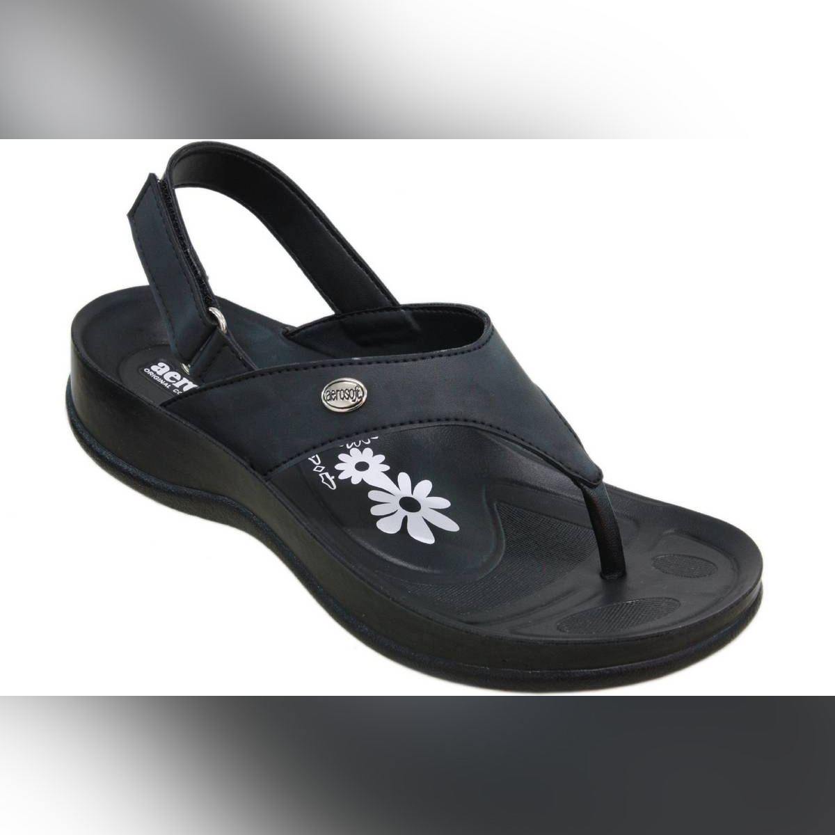 Aerosoft Black Synthetic Leather Sandals For Women S5914