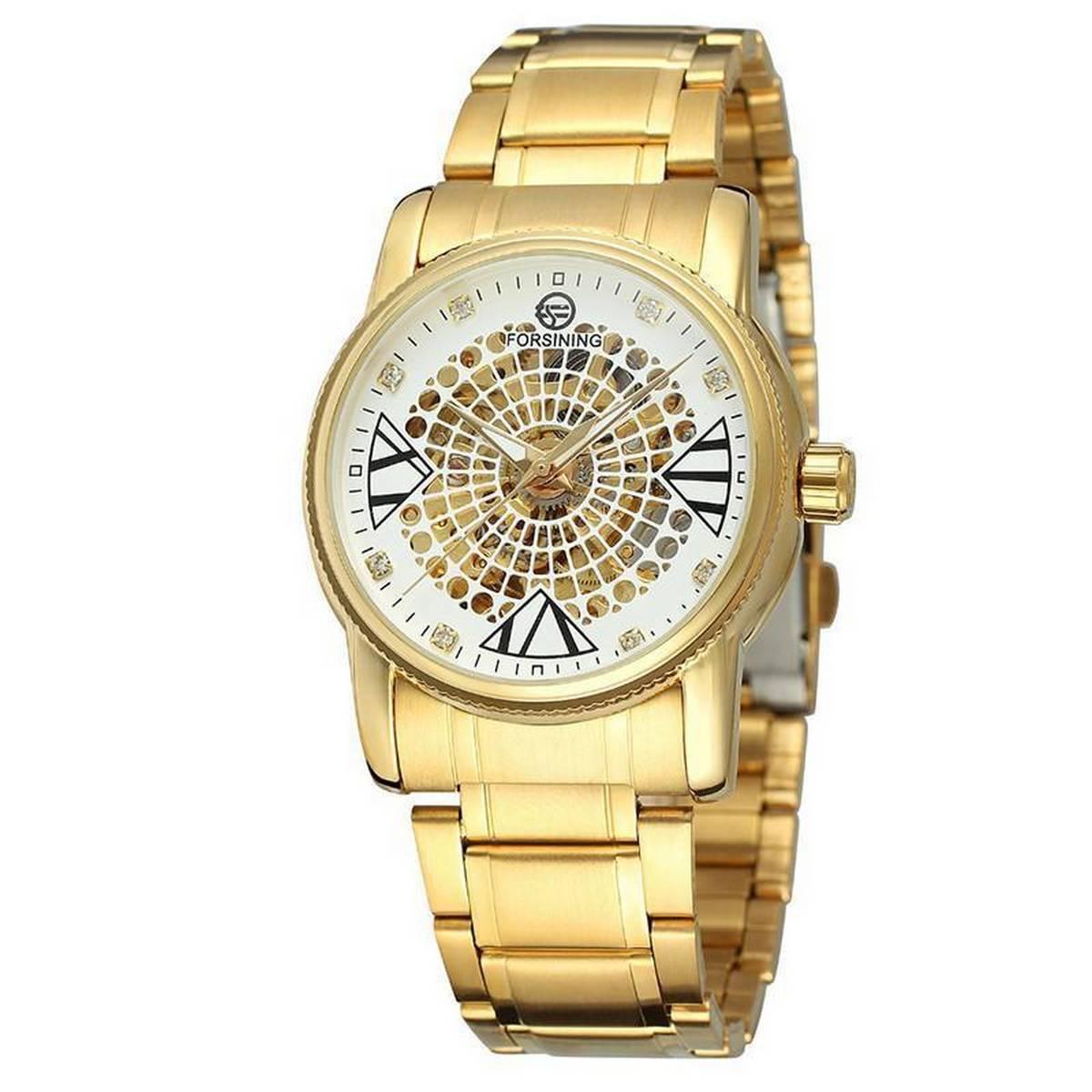 Fashion Men Watch Skeleton Diamond Display Openwork Mechanical Watch Male Clock