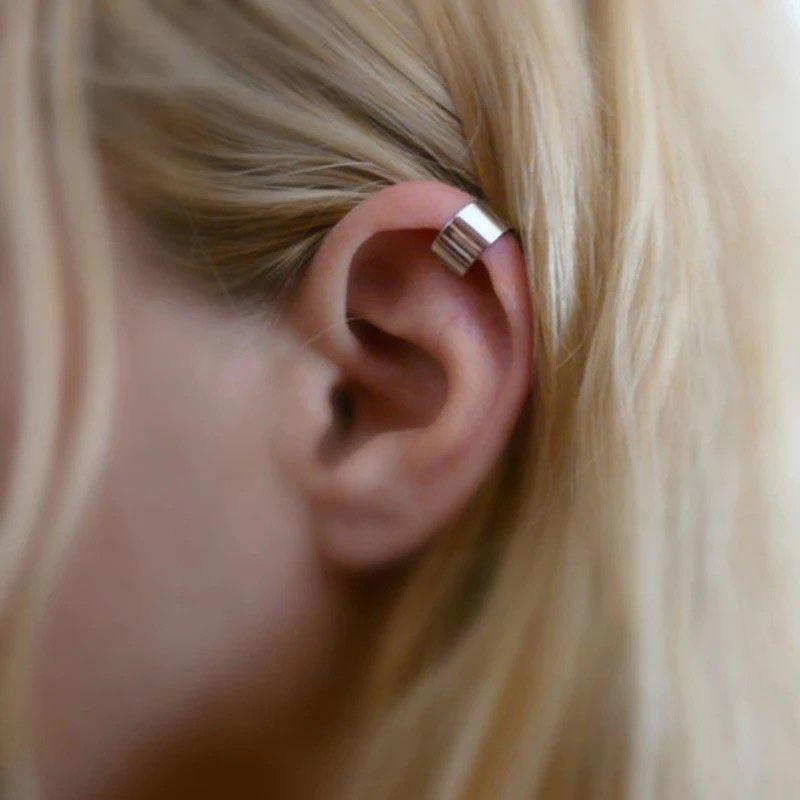 Fashion Jewelry 1 Pair Stainless Steel Punk Rock Ear Clip Cuff Earrings