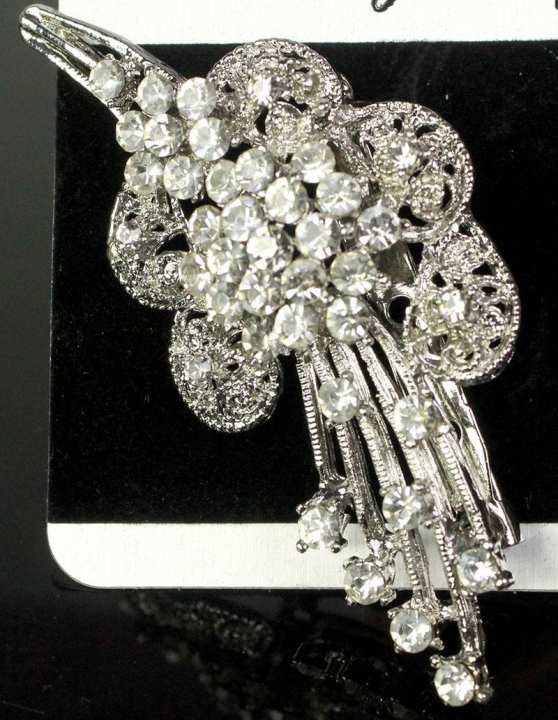 Silver Flower Shape Brooch With Stones