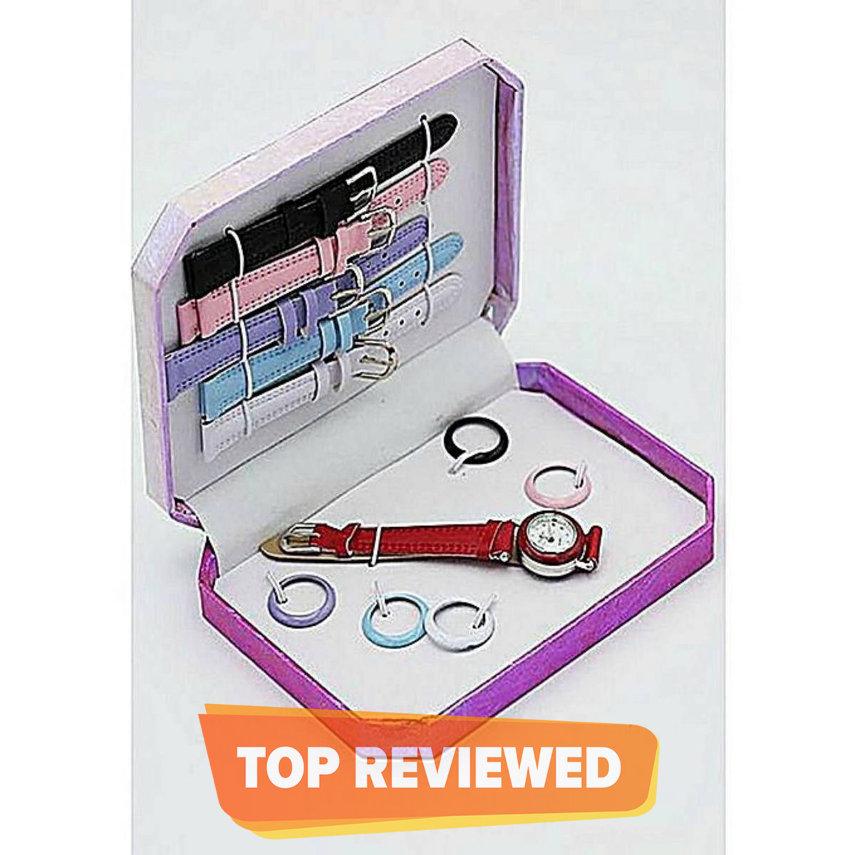 Interchangeable Watch Gift Set In Box For Girls - 6 Dial & Straps