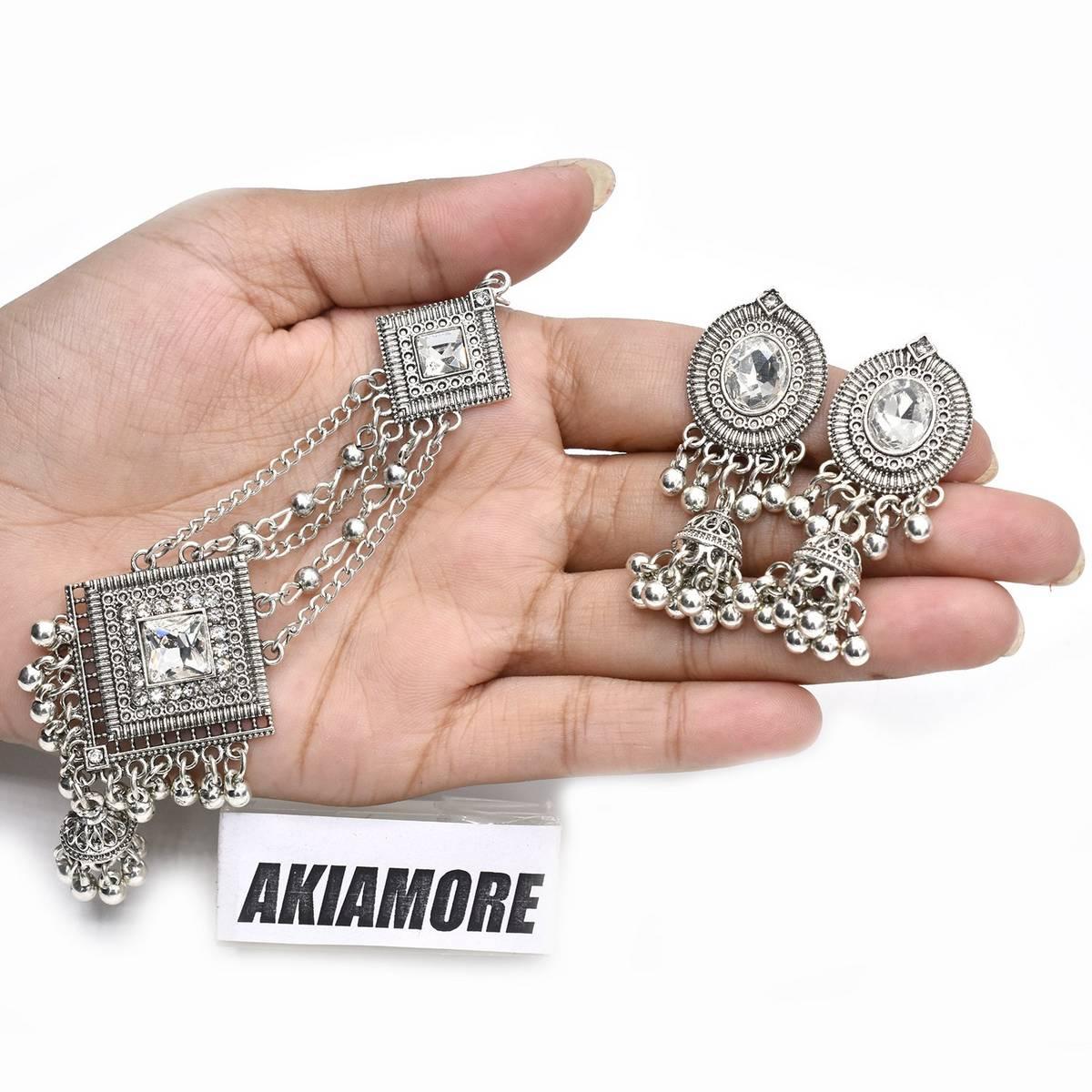 Antique Head Chain Tikka Jewellery Hair Jhumar Bollywood Matha Patti and Drop Earrings Wedding Bridal Party Jewellery