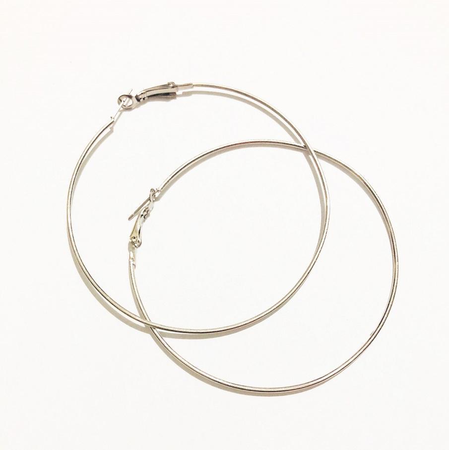 07a18c076 7 CM Diameter Metal Smooth Big Large Hoop Earrings Round Circle Earring  Jewelry for Women