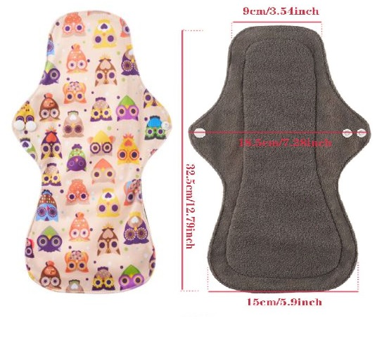 1 PIECES- Baby Washable 12 inch Organic Pads Reusable 4 Layered Bamboo Charcoal Inner