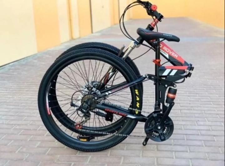 Mountain Bike Folding Bikes, 27''-Speed Double Disc Brake Full Suspension Anti-Slip, Lightweight Aluminum Frame, Suspension Fork Foldable Bicycle