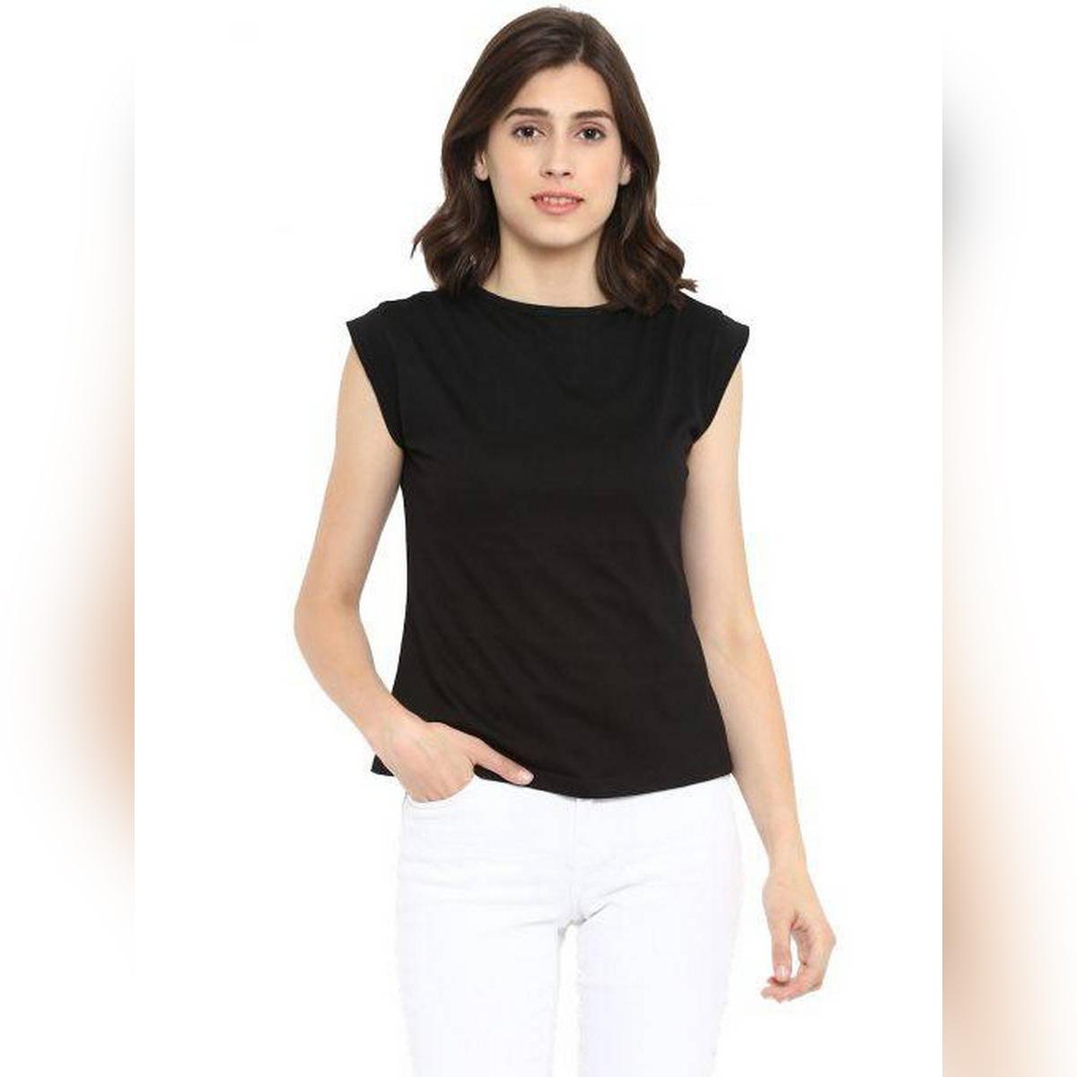 AL FAJAR Cap Sleeves Sleeveless Half Sleeves Cotton Stylish Tshirt T-Shirt T Shirt Top For Women For Girls