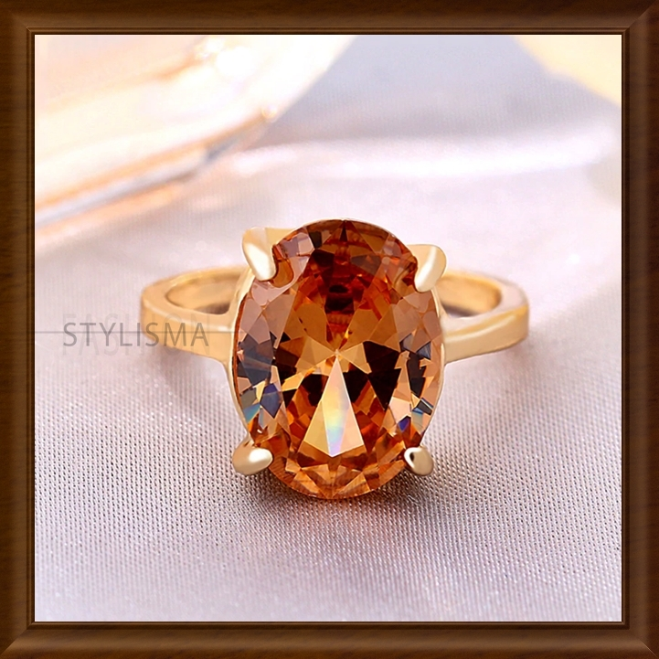 Vintage Oval Zircon Engagement Rings Golden Plated With Gift Box