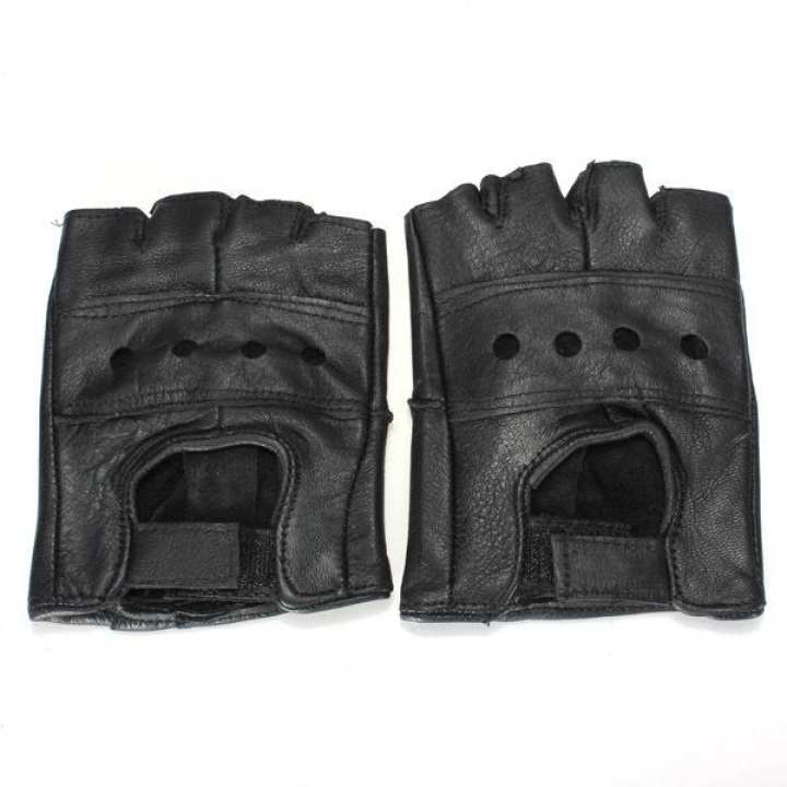 M Black Half Finger Leather Gloves Cattlehide Motorcycle Bicycle Bike Durable