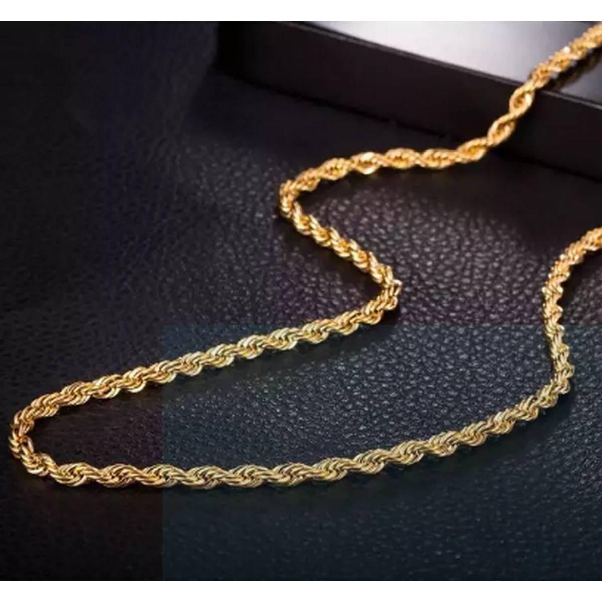 Italian Rope Design Neck Chain For Men – Gold Plated