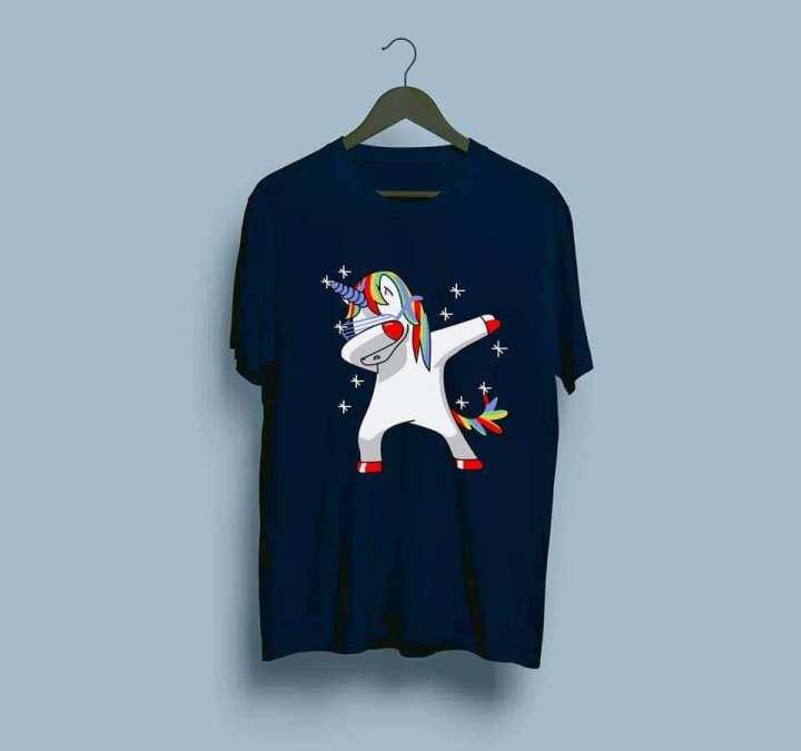 Navy blue Unicorn Dab  Half Sleeves Printed T Shirt For Girls