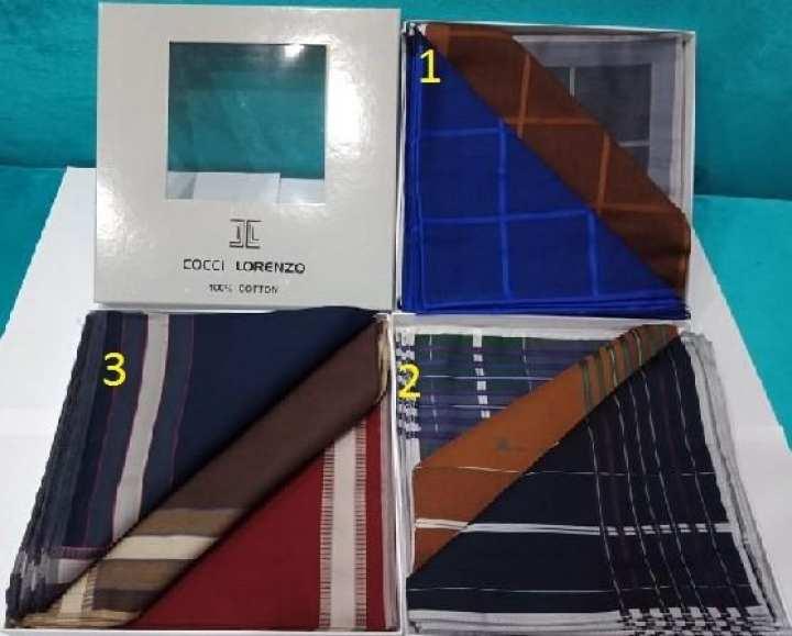 Cocci Lorenzo 1 Dozen (pack of 12) Pocket Handkerchief / Rumal For Men 100% Cotton