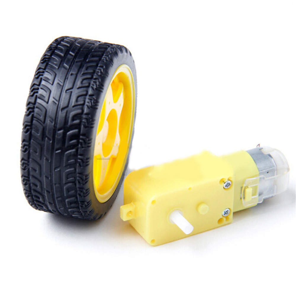 DC 3V-6V Yellow Gearbox Motor with Wheel tyre