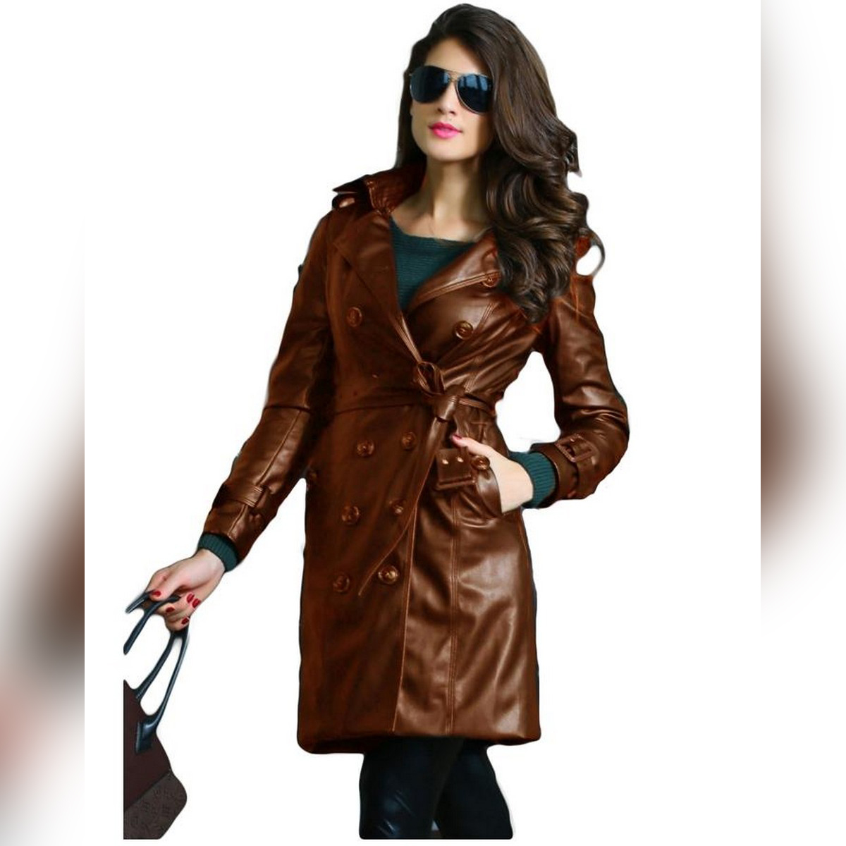 Mustard Ladies Leather Long coat For Women