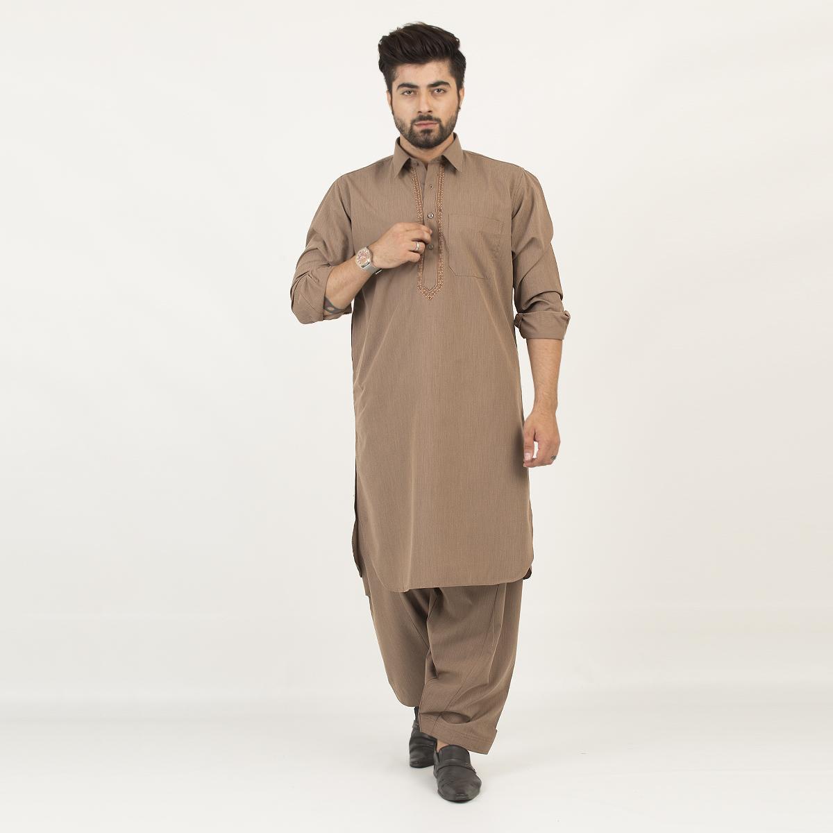 178 Cut Price Shalwar Qameez Suit Shirt Collar Embroidery for Men Greenish Brown
