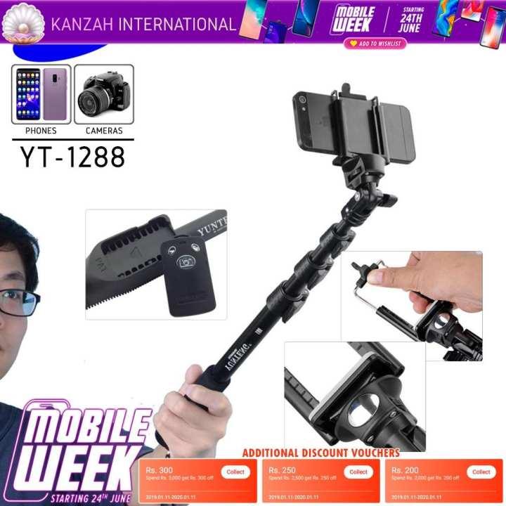4 Feet Bluetooth Remote Selfie Stick - 123 cm Length - Yunteng YT-1288 - Kanzah International - Black