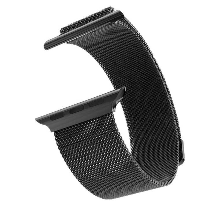 Apple Watch Band Magnetic Clasp Mesh Loop Milanese Stainless Steel Replacement Strap For Apple Watch series 4 44mm also compatible with 42mm case (Black)