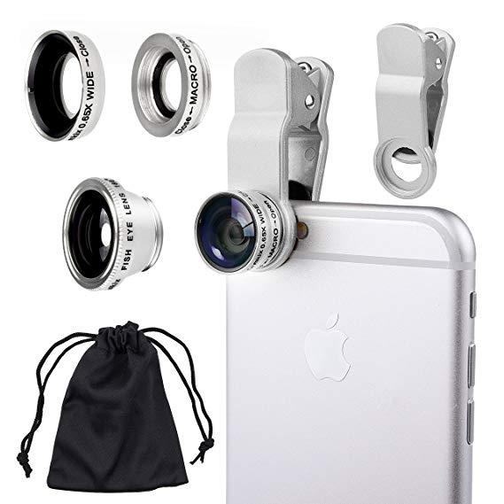 2cab0607d5 3 in 1 white Selfie Camera Lens Mobile Phone Clip Lenses Fish Eye Wide  Angle Macro