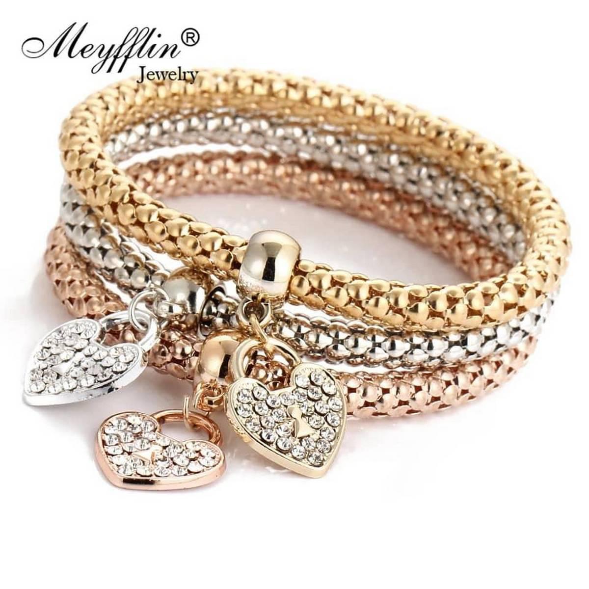 3 Pcs Set Crystal Bracelets & Bangles Gold Wrapped