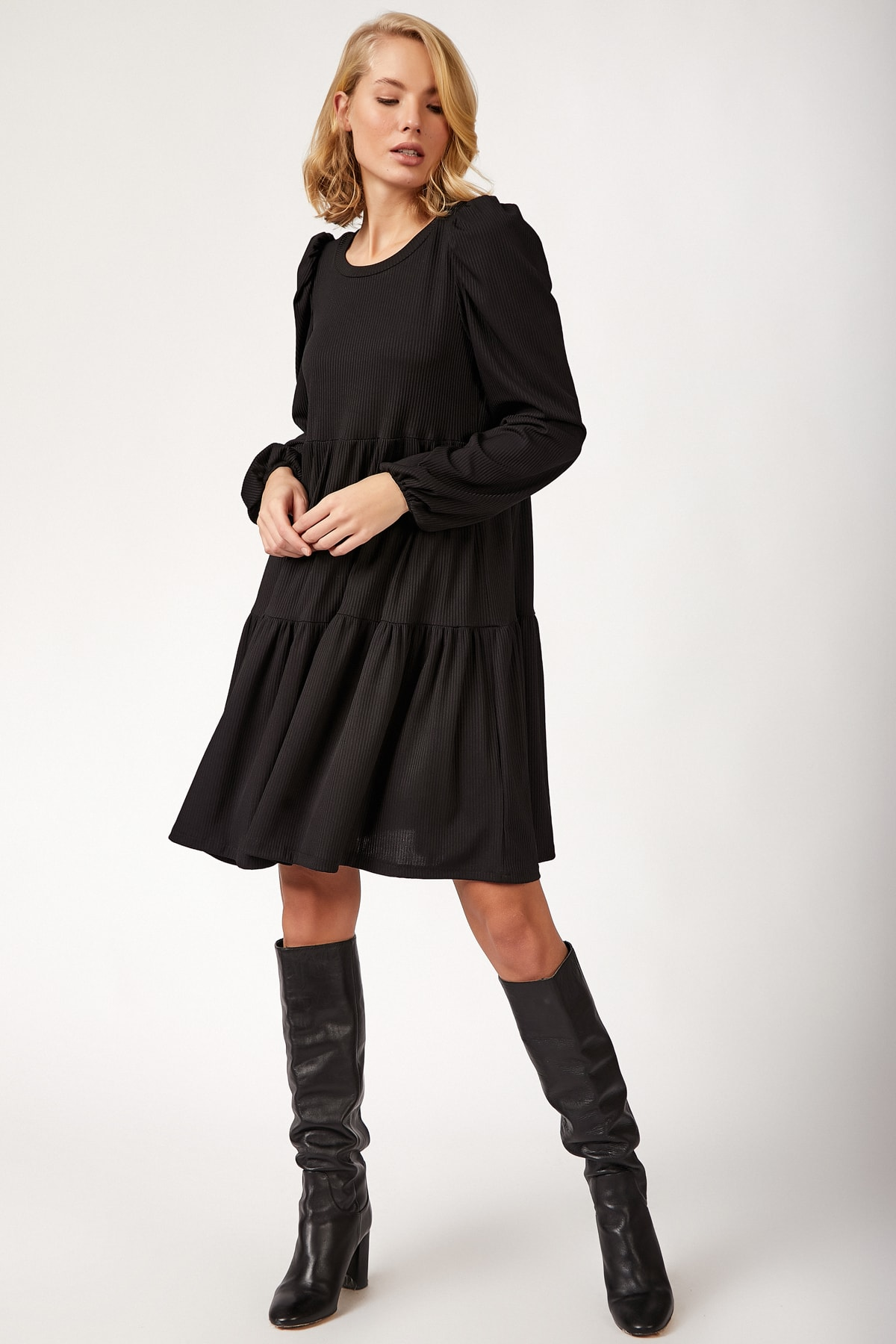 Happiness Ist. Women's Black Skirt Flywheel Ribbed Dress BL00166 BL00166