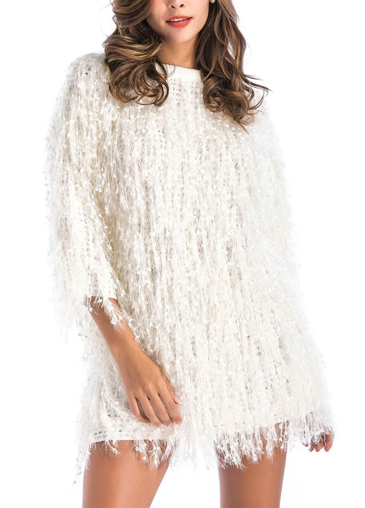 Romantic&Sweet Women's Pure Color Christmas Tassels Mid-length Top
