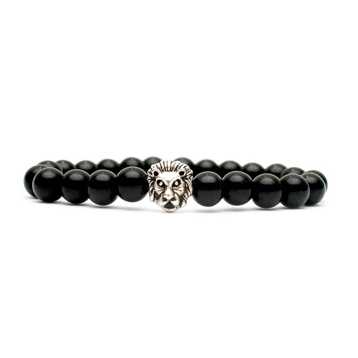 Black Beads Silver Lion Bracelet
