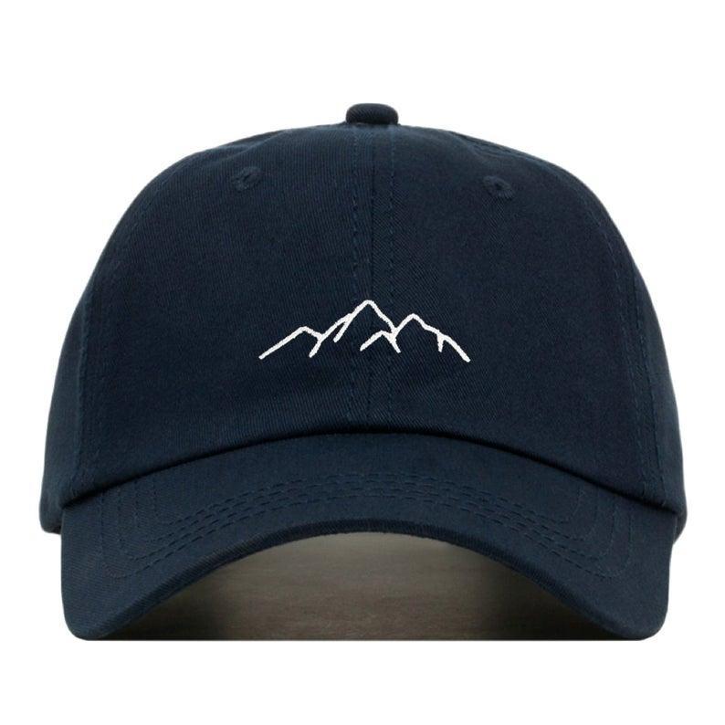 MOUNTAIN Baseball Hat, printedCap • Hiking Climbing Adventure • Unstructured Six Panel • Adjustable Strap Back