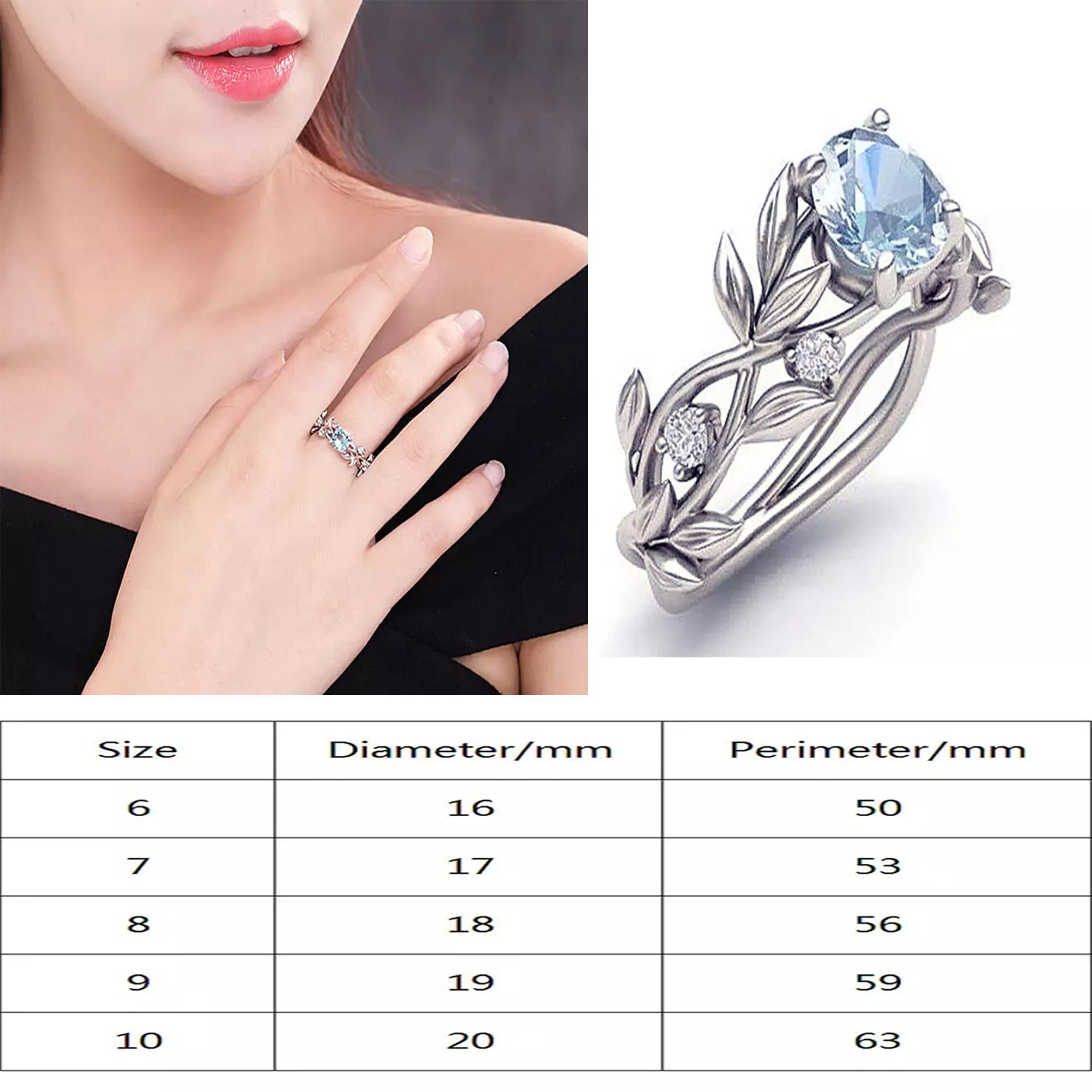 fa3b5e21da Woman Leaf Design Stainless Steel Wedding Engagement Cubic Zircon Ladies Ring  Jewelry