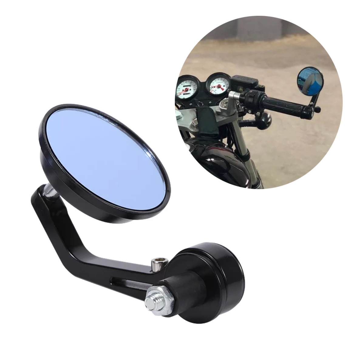 MOTORCYCLE BAR END MIRRORS - CAFE RACER STYLE
