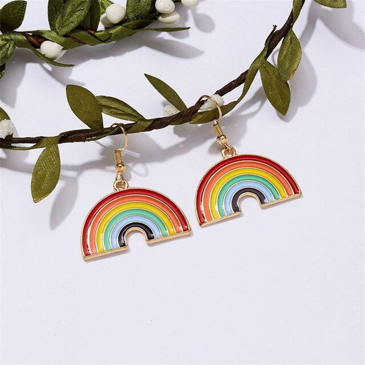 Fashion Jewelry 1 Pair Of Metal Rainbow Drop Earrings For Women