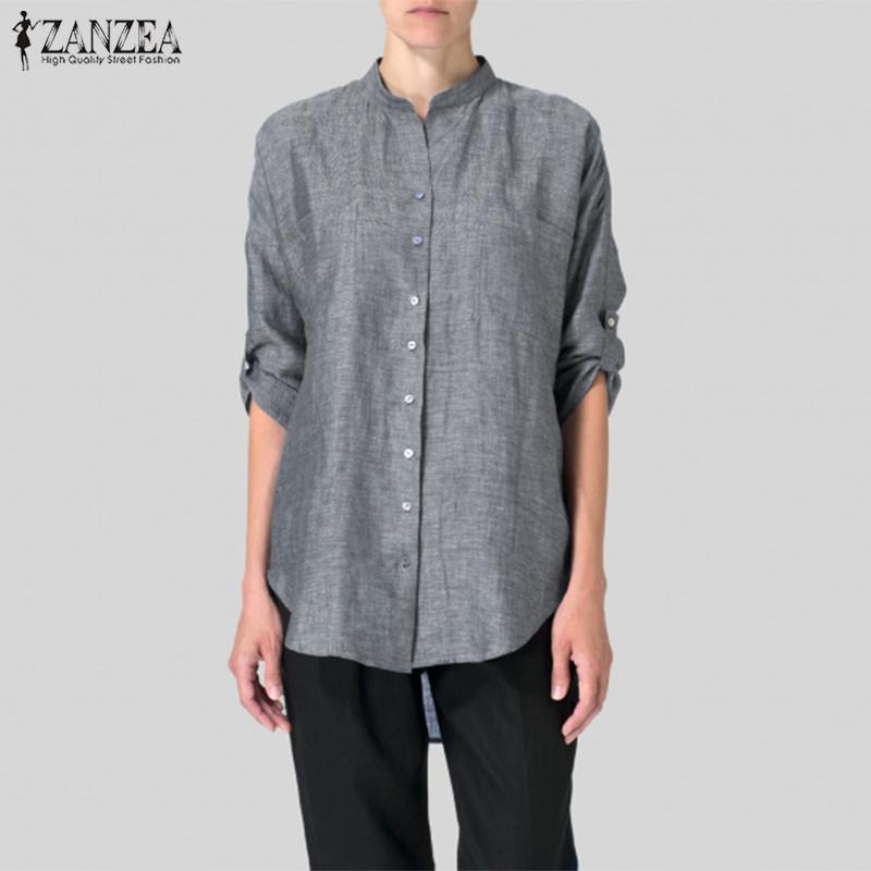 ZANZEA Women Round Neck Buttons Down Shirt Tee Summer Baggy Tops Blouse T-Shirts