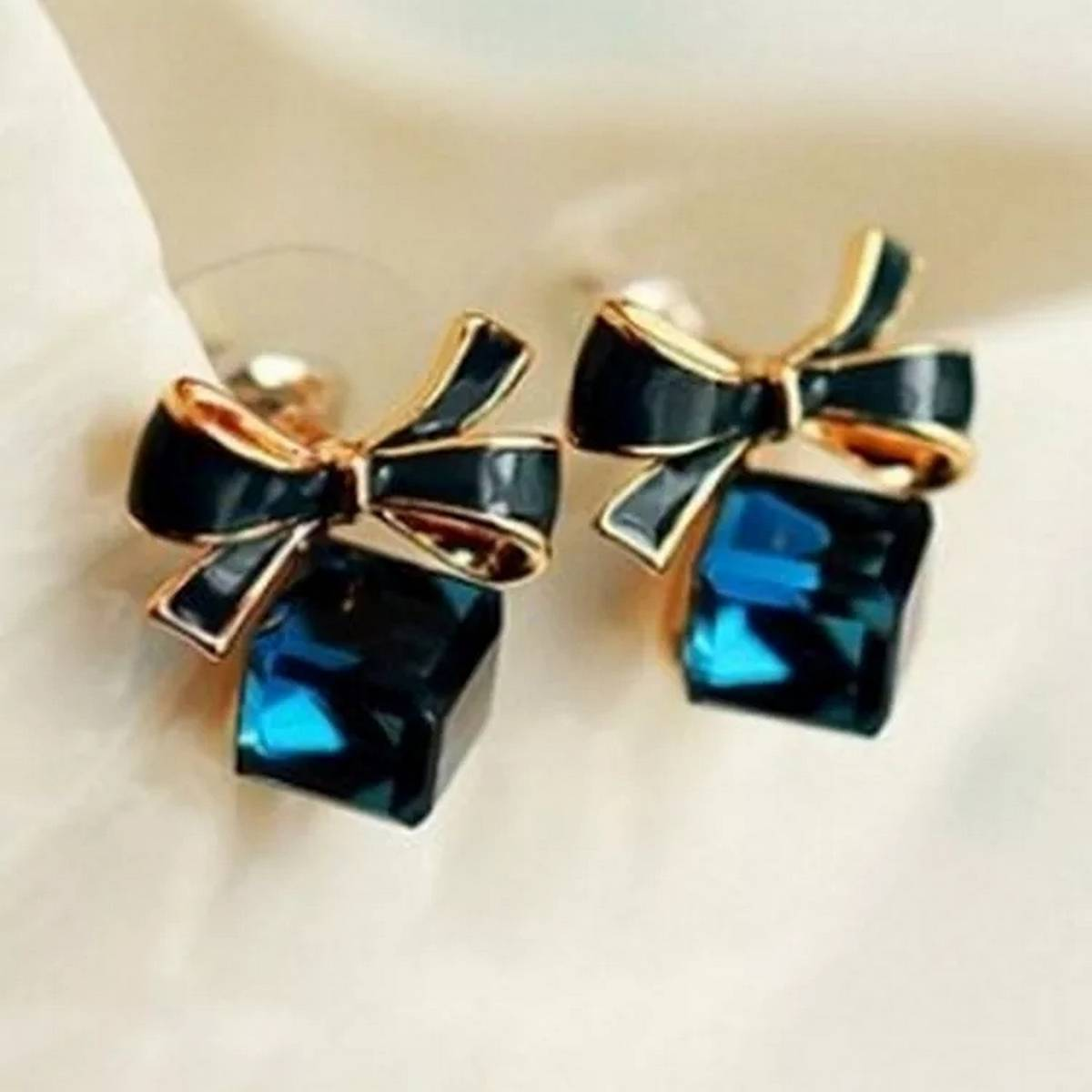 New Fashion Blue Crystal Square shped Ear stud earrings for wedding, events