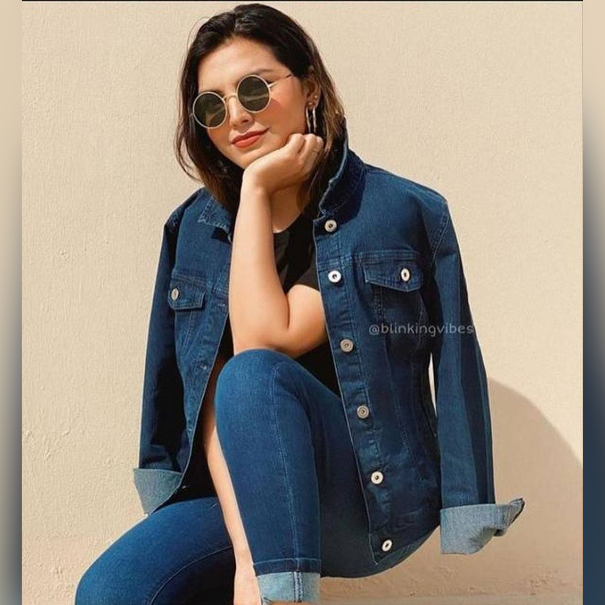 Blue Denim Jacket for Women ( With Free shirt )