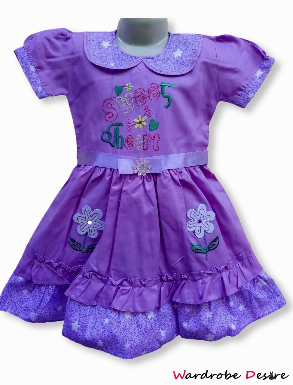 Wardrobe Desire Casual Wear Purple Violet Cotton Fibroin Ruffle Frock for Girls-4 to 8 Years