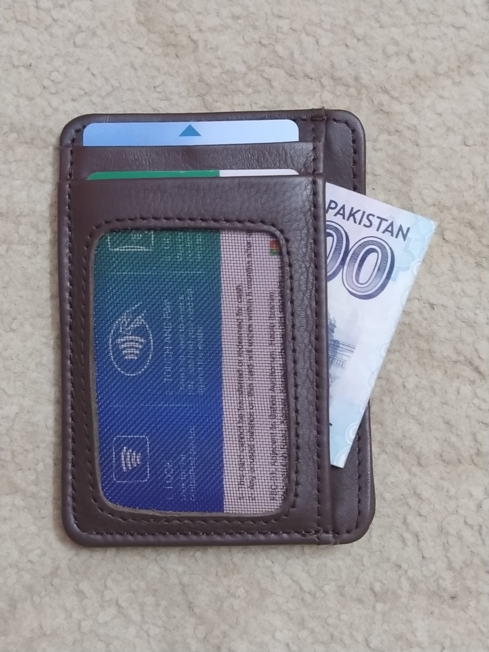 Slim Minimalist And Small Card Holder Wallet of Pure Cow Leather  To Carry  ATM  Credit  Contact Cards And Cash With 8 Pockets - Black