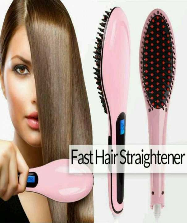 Fast Hair Straightener Brush Pink
