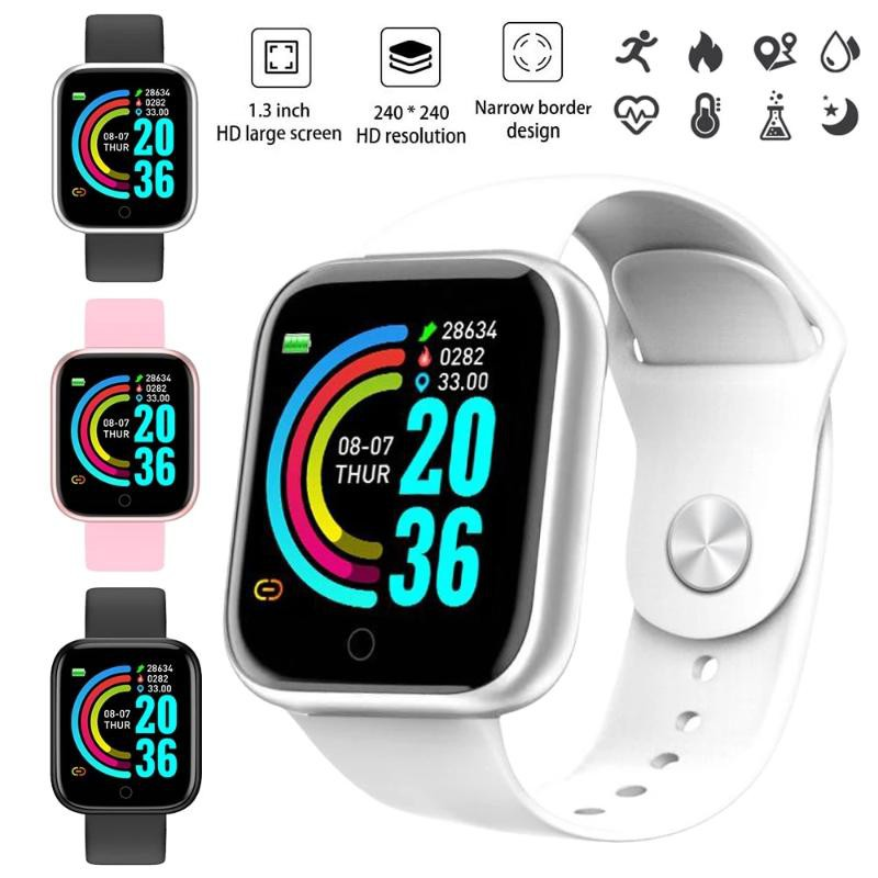 Silver White Advanced Version Bluetooth Digital Wrist Sports Smart Watch IP67 Waterproof Bracelet Support Mobile Notification With Mobile App Connectivity Fitness Tracker & BP Monitor Step Counter 1.3 Inch TFT Screen With Digital & Smart Display
