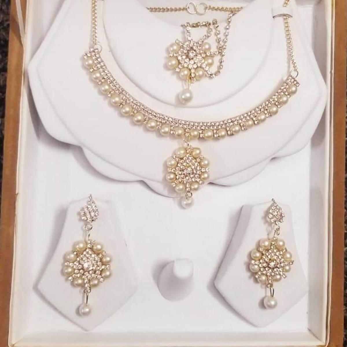 Jewellery Set Golden Zircon With Pearl For Women