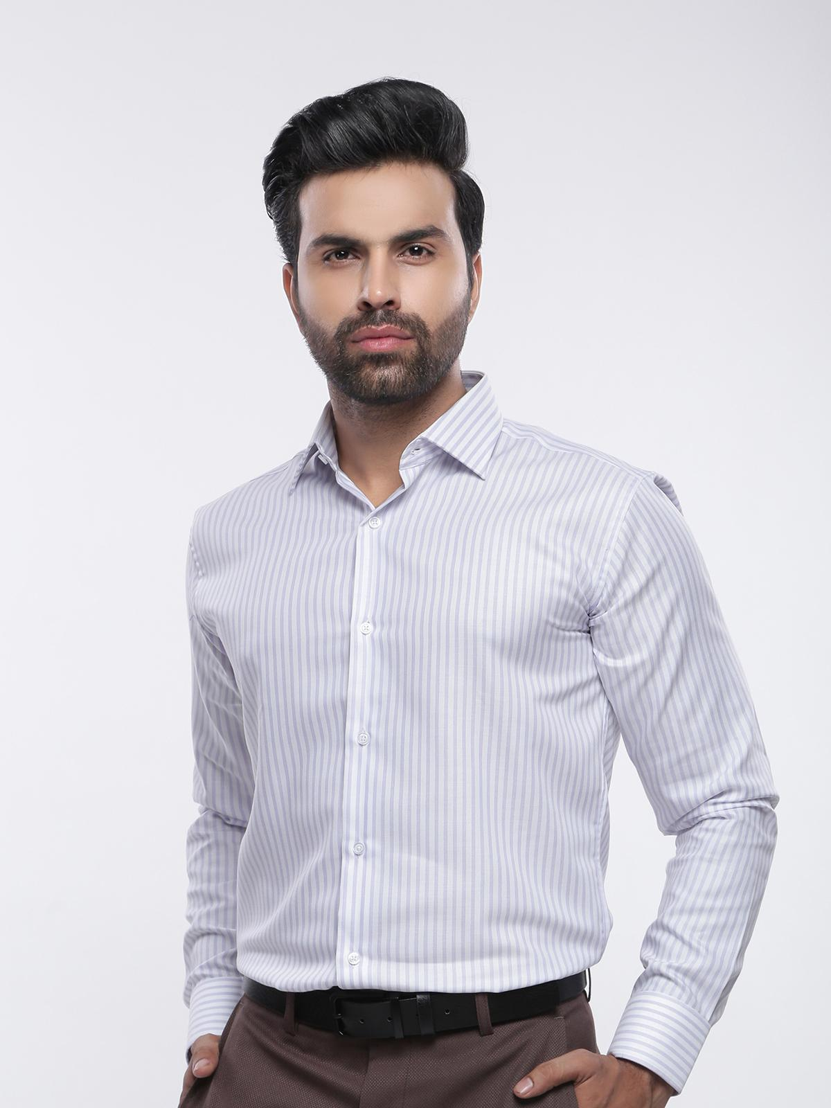 The Cress Striped Purple and White Slim Fit Formal Shirt for Men