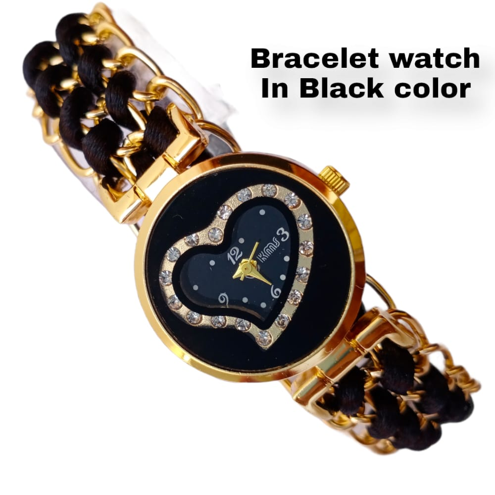 Heart dial bracelet watch for girls ladies and woman stylish new design 2021 in black and brown colors available