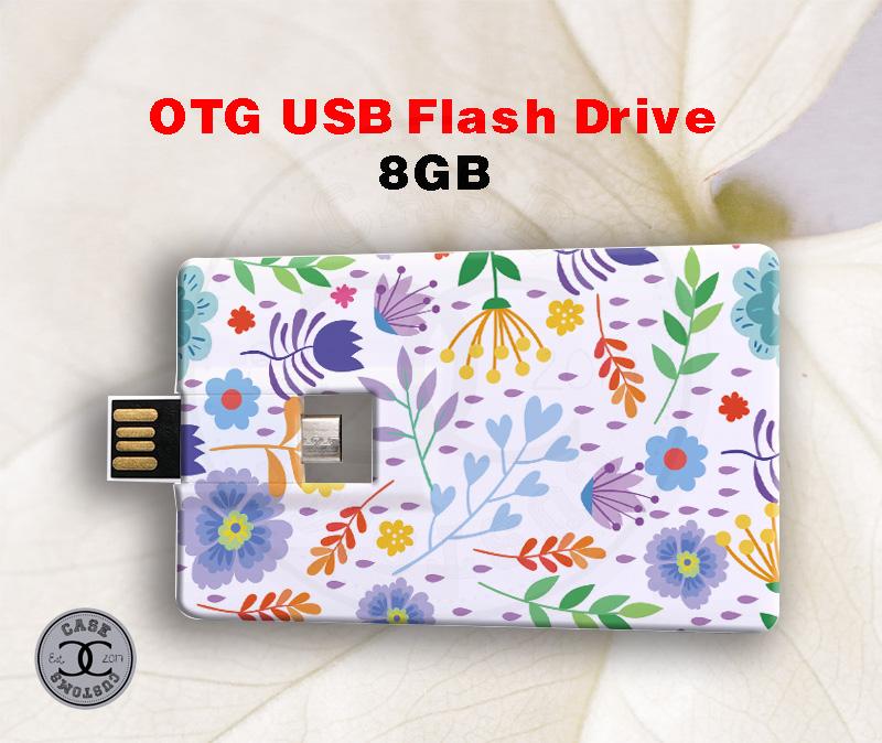 OTG Plastic Business Card USB Stick/ Computer Phone Dual Use USB Flash Drive (8GB)