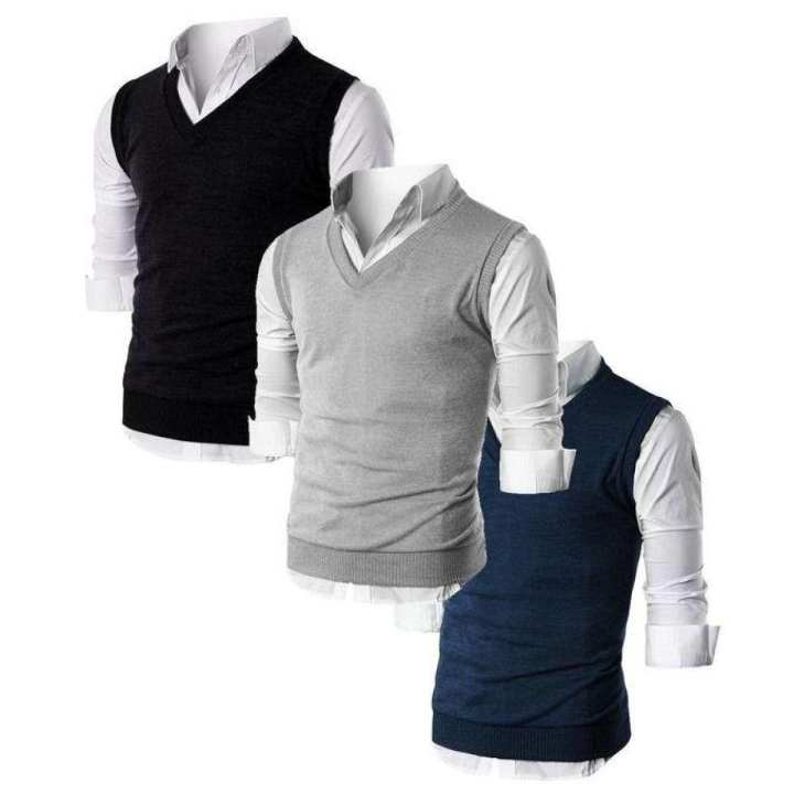 Pack of 3 Autumn Winter New Knitted Pullover Men Business Cashmere Sweater Men's Casual V-Collar Sweaters Brand Clothes