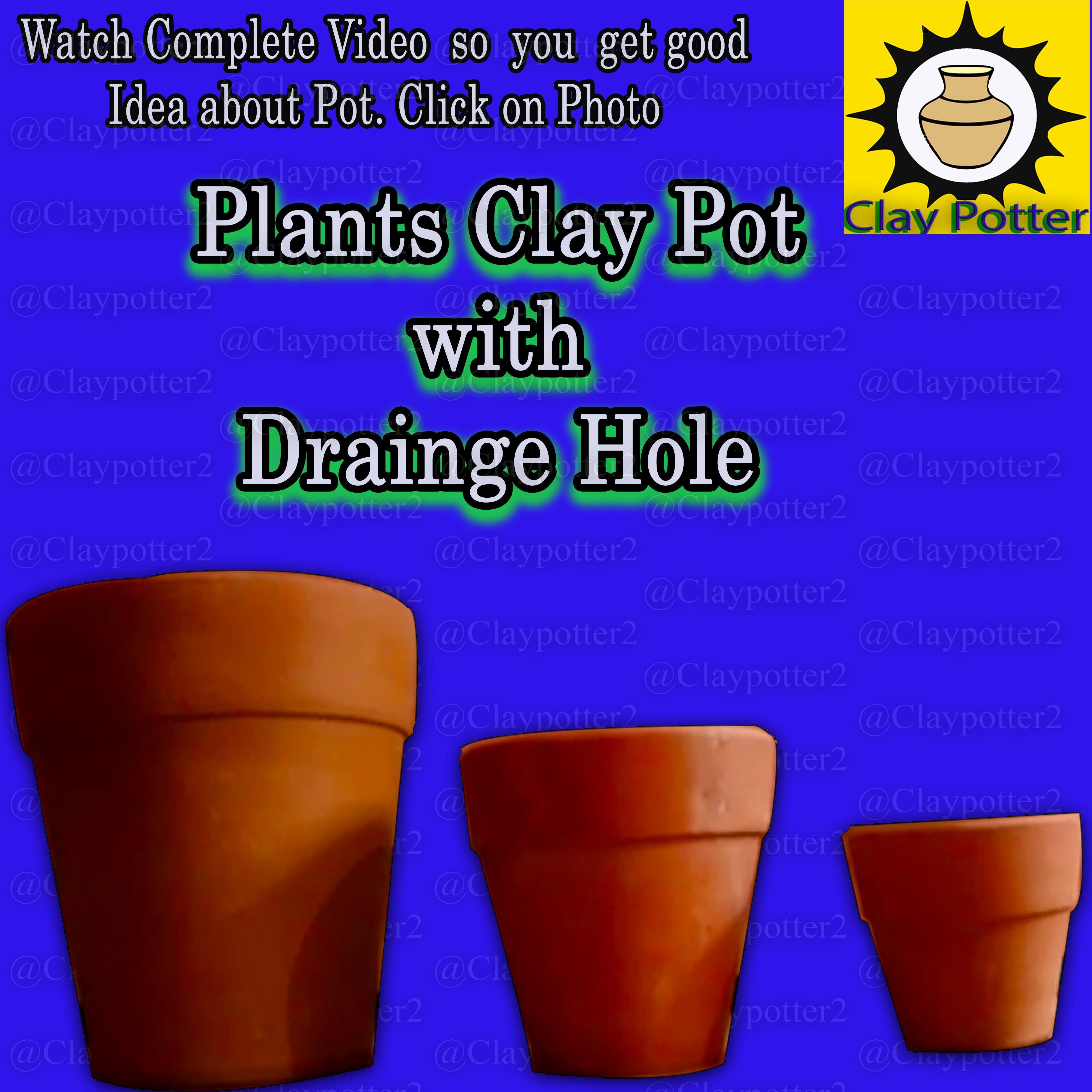 Clay Flower Planter Pots | Pack of 3 Piece Set | Watch Video Click on Photo get of idea about Pots| Clay Potter | Follow our Store