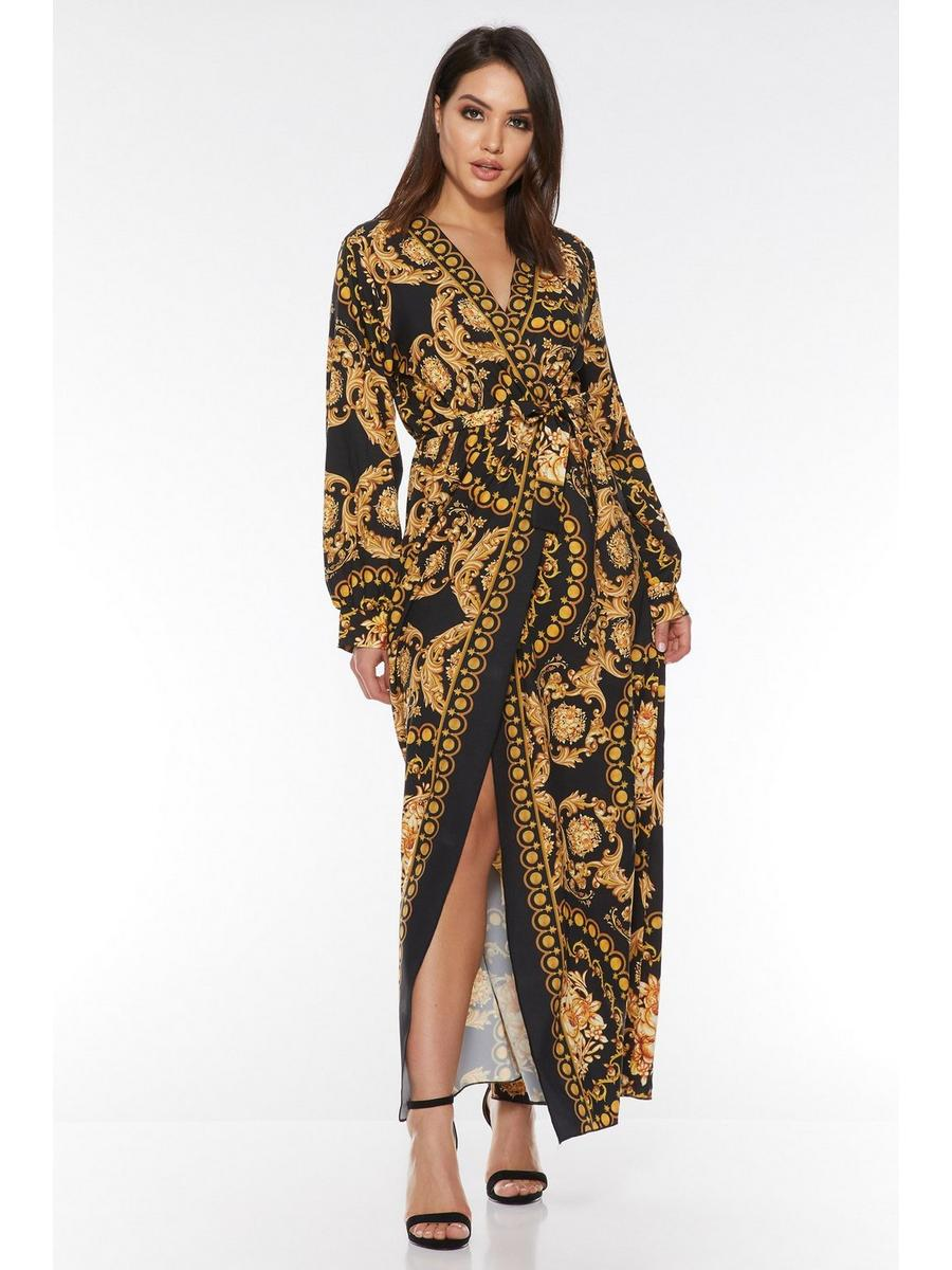 Quiz Black And Gold Scarf Print Wrap Maxi Dress for Women - 00100020389-Small