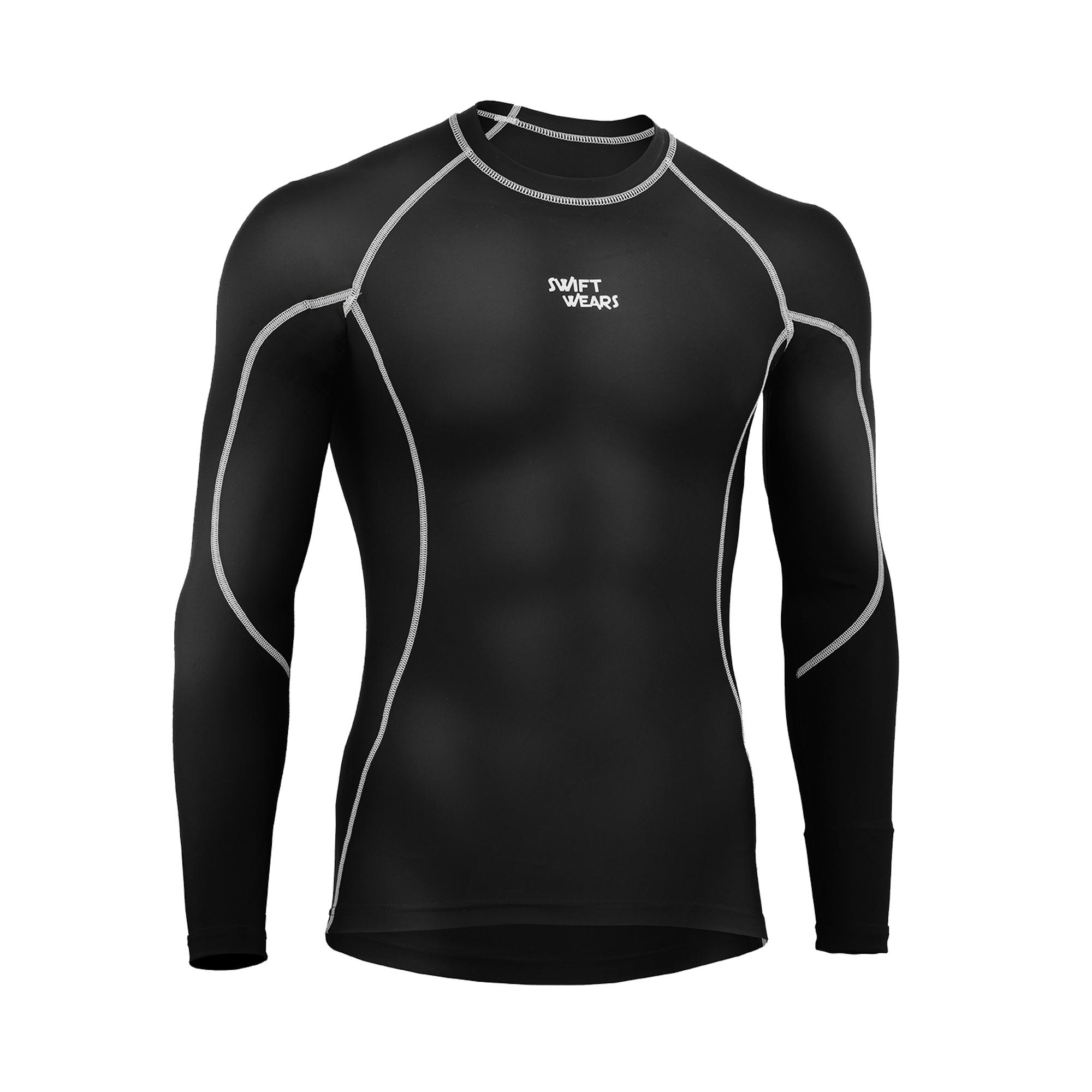 Mens Compression Base Layer Top Long Sleeve Thermal Gym Sports Shirt