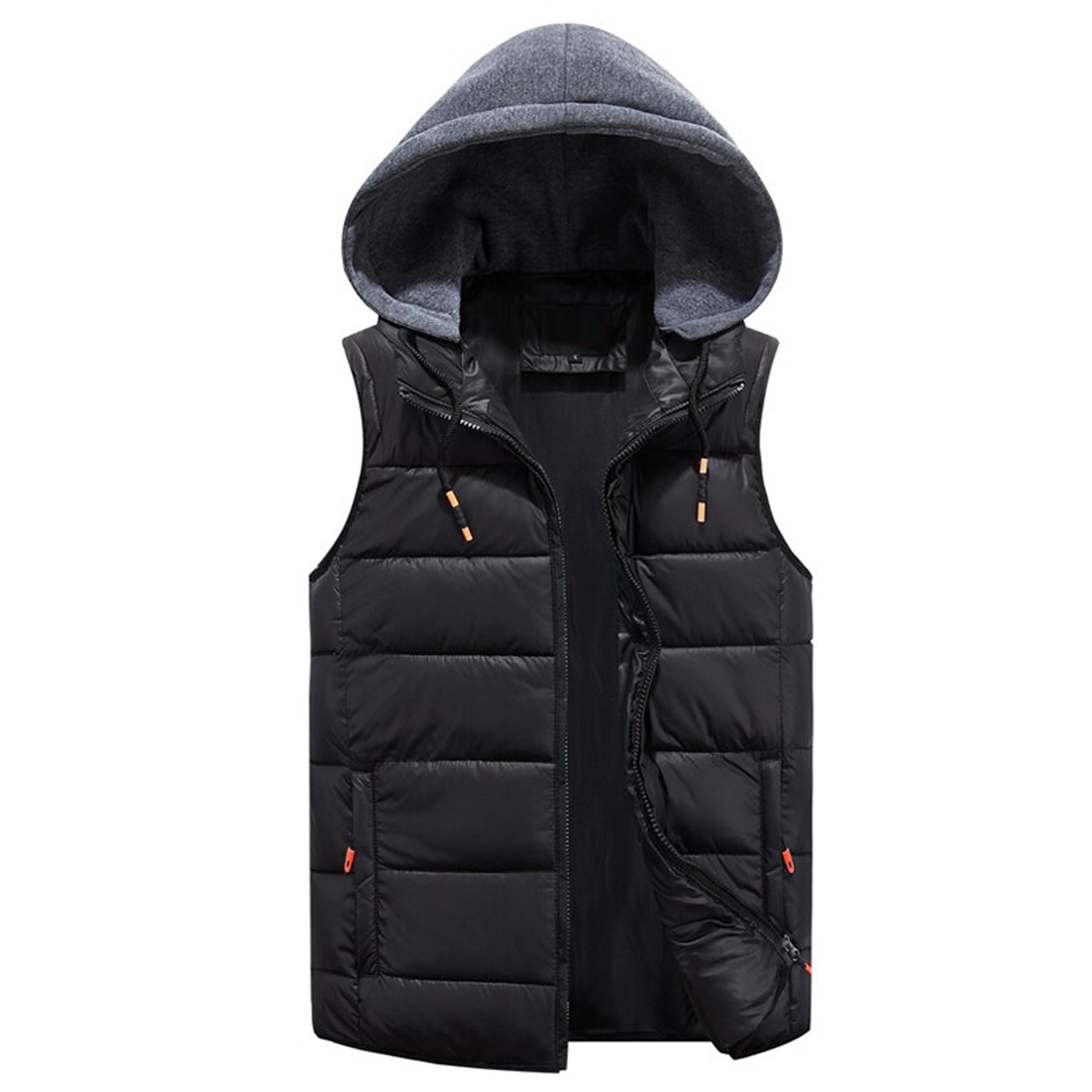 Men Black Winter Warm Down Jacket Casual Sleeveless Windbreaker Jacket