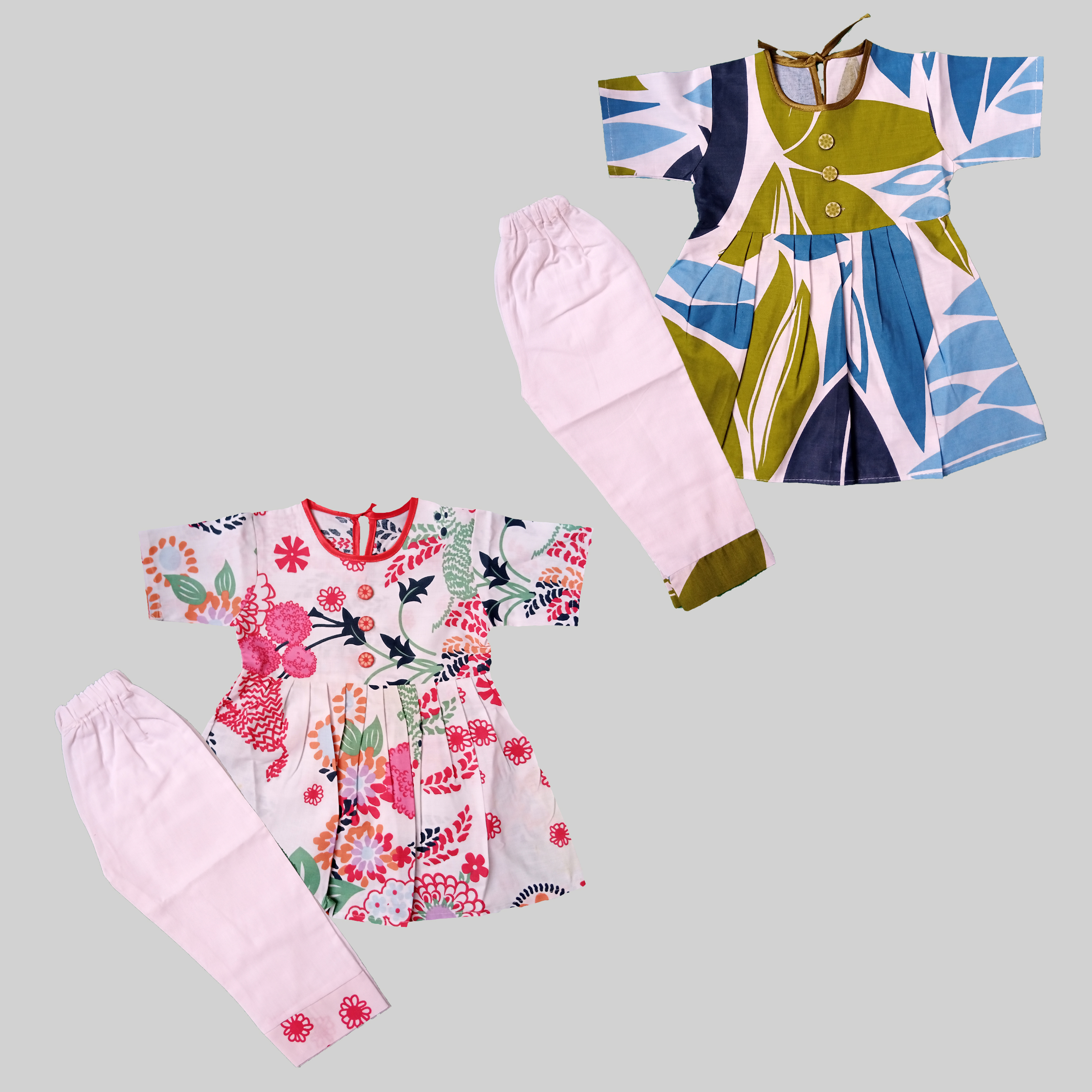 SJ Store & Collection - Pack of 2 - Half Sleeves - Summer Multicolored Cotton Printed Frocks with Tights for Baby Girls (New Born to 9 Months)