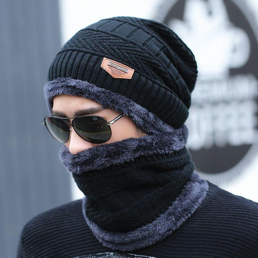 Woolen Winter 2 Cap With Neck Band For Kid, Men and Women